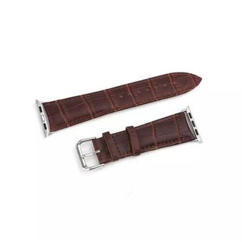 Harga GAKTAI Unisex Replacement Leather Buckle Wrist Watch Strap Band Belt for iWatch Apple Watch 42MM - Brown - intl