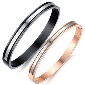 Harga Stainless Steel Matching Forever Love Couple Bangle Bracelets