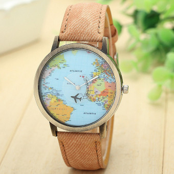 Harga New Global Travel By Plane Map Women Dress Watch Denim Fabric Band Coffee