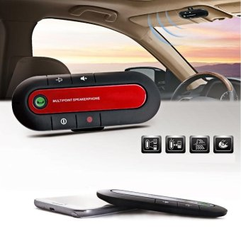 Harga Bluetooth Wireless Speaker Phone Slim Magnetic Hands Free In Car Kit Visor(Red) - intl