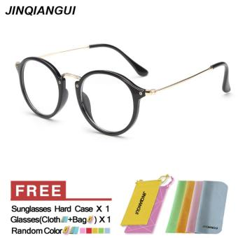 Harga Fashion Mens Glasses Frame Vintage Retro Round Glasses BrightBlack Frame Glasses Plastic Frames Plain for Myopia Men Eyeglasses Optical Frame Glasses - intl