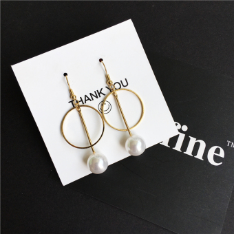 Harga Aclili hand-made 925 sterling silver very simple Ah Qin same paragraph earrings retro geometric Pearl marble earrings ear clip