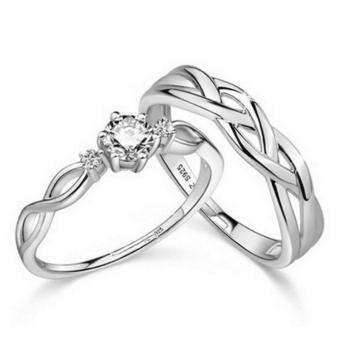 Harga Silver Adjustable Couple Rings Jewelry Affectionate Lovers Rings E028 - intl