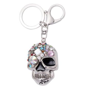 Rhinestone Skull-shaped Hanging Pendant Keychain Key Ring Chain for Bag Purse Cellphone Accessories Decoration Silver - intl