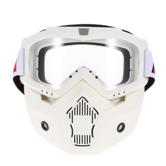 Harga Mortorcycle Mask Detachable Goggles and Mouth Filter for Open Face Helmet Motocross Ski Snowboard - intl