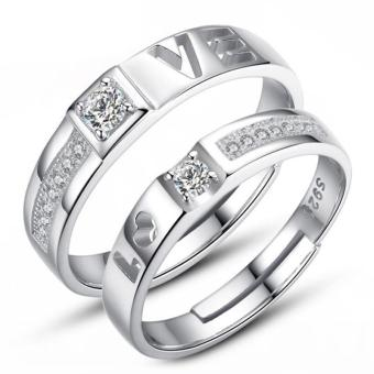Harga Silver Adjustable Couple Rings Jewelry Affectionate Lovers Rings E027 - intl