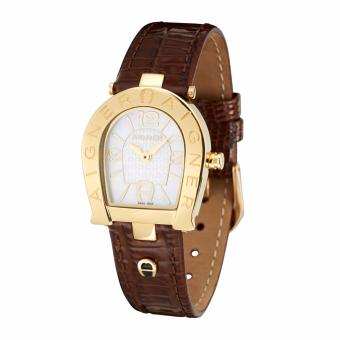 Aigner Acerra (A32289) - Genuine Brown Leather Strap - Gold Tone