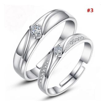 Harga High Quality Store New 1 Pair 925 Silver Plated Heart Lovers Couple Promise Rings Set Zircon Crystal Diamond Wedding Ring Jewelry Silver - intl