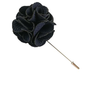 Beautymall Cotton Flower Handmade Men Lapel Pin Brooch Boutonniere Tuxedo Camellia Navy Blue - intl