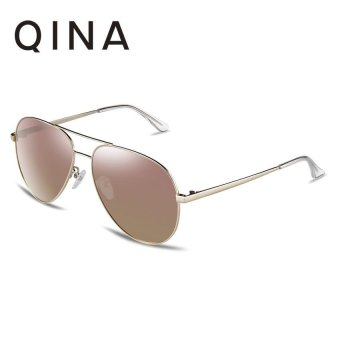 Harga QINA Polarized Women Light Gold Sunglasses Pilot UV 400 Protection Gold Lenses QN3523 - intl