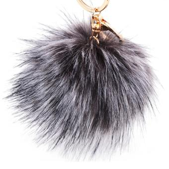 10cm Diameter Fluffy Imitation Fox Fur Ball Hanging Pendant Keychain Key Ring Chain for Bag Purse Pouch Accessories Decoration Grey - intl
