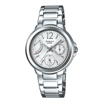 Casio Sheen Multi-Hand with Swarovski® Crystals Stainless Steel Band Watch SHE3804D-7A