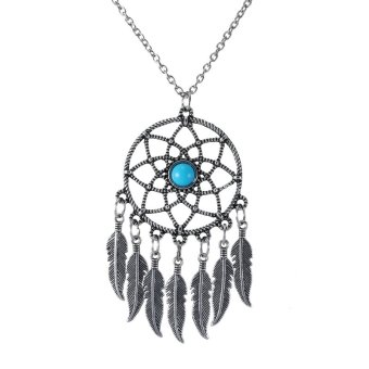 Vintage Hollow Retro Silver Feather Tassel Turquoise Dream Catcher Pendant Necklace Fashion Jewelry Gift