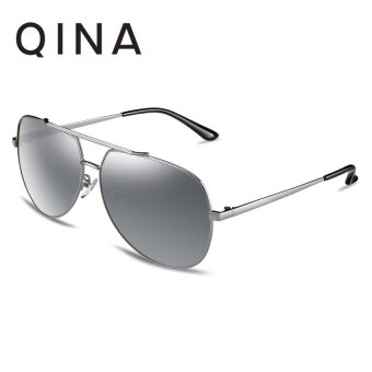 Harga QINA Polarized Men Silver Sunglasses Pilot UV 400 Protection Grey Lenses QN3521 - intl
