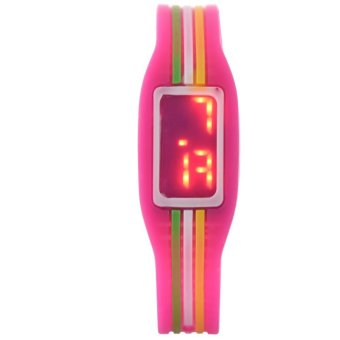 Harga LED Multi-Colored Silicone Children Watch (Rose Red)