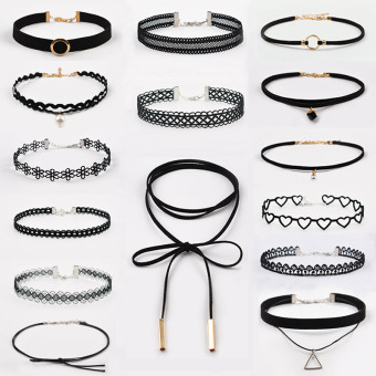 Harga 15 bar choker necklace collar Korean neck jewelry neck strap sexy neck chain lace necklace clavicle chain female