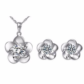Harga Fancyqube Zircon Crystal Flower Necklace And Earrings Jewelry Sets - intl