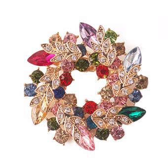 Harga Hequ 1 Pcs Bling Bling Crystal Rhinestone Gold Plated Chinese Redbud Flower Pins Jewelry Women brooch Purple - intl