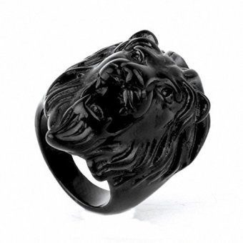 Harga Mens Punk Rock Biker Vintage Gothic Stainless Steel Roaring Lion King Engraved Carved Ring Band JewelryBlack ToneAnimal Style
