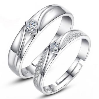 Harga Silver Adjustable Couple Rings Jewelry Affectionate Lovers Rings E018 - intl