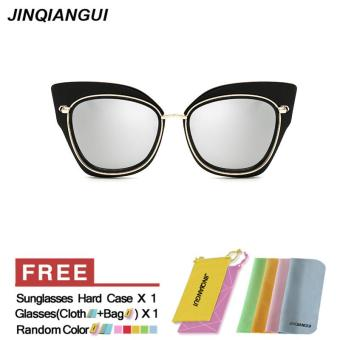 Harga Sunglasses Women Cat Eye Retro Silver Color Polaroid Lens Titanium Frame Driver Sunglasses Brand Design Original Box Women Oculos