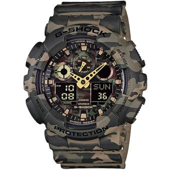 Harga CASIO GSHOCK MILITARY GREEN CAMOUFLAGE SERIES WITH GOLD ANALOGUE HANDS GA100CM 5
