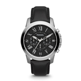 Harga Fossil Grant Chronograph Black Leather Watch FS4812