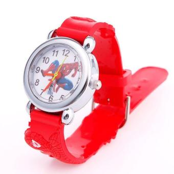 Harga BUYINCOINS Spider Blue Red Cartoon Child Boys Kid Analog Quartz Wrist Watch Rubber Leather