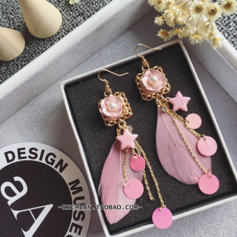 Harga 2 To Korean-style natural feather bohemian fairy resort style Butterfly knot star tassel exaggerated earrings