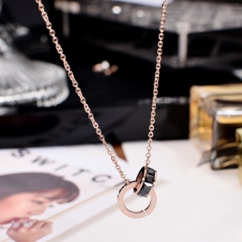 Harga Boutique titanium steel Korean-style double ring zircon rose gold necklace female Xin clavicle chain short paragraph European and American accessories product does not fade