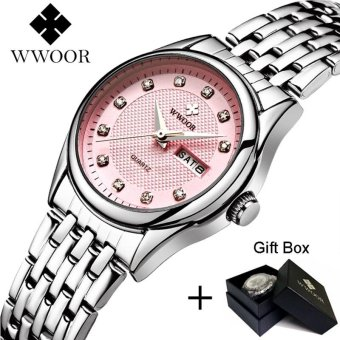 Loveu Store Luxury Rhinestones WristWatch Stainless Band Waterproof Women Quartz Wrist Watch(Pink) - intl