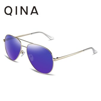 Harga QINA Polarized Men Light Gold Sunglasses Pilot UV 400 Protection Purple Lenses QN3523 - intl