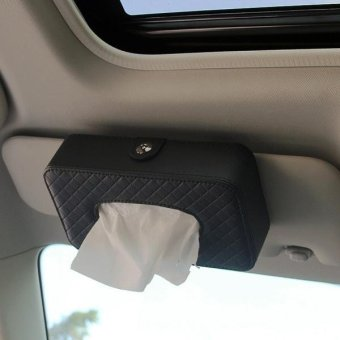 Harga Car Sun Visor Hanger Tissue Box Paper Napkin Bag With 83g Napskins(Black) - intl
