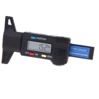 Harga Digital LCD Tyre Tire Tread Depth Gauge 0-25.4mm Metric / Inch Black - intl
