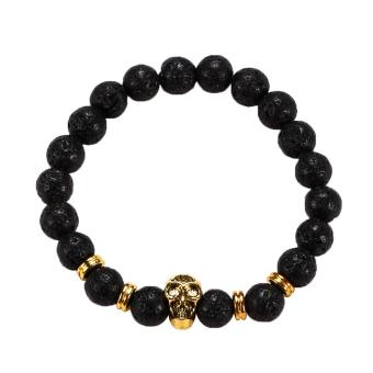 Harga Golden Skull/Black Lava Rock Beaded Shamballa Stretch Energy Bracelet