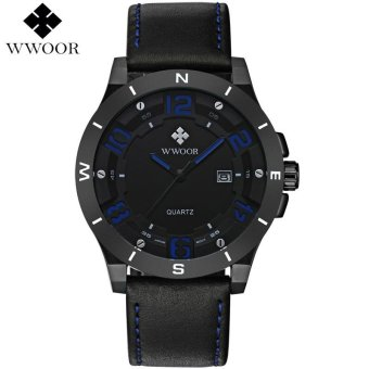 Harga WWOOR Brand Luxury Waterproof Military Watches Male Date Relogio Masculino Leather Strap Casual Quartz Watch Men Sport Wrist Watch 8014 - intl
