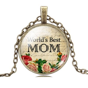 Harga Jiayiqi World's Best Mom Time Gem Bronze Chain Pendant Necklace