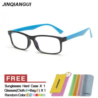 Harga Fashion Mens Glasses Frame Rectangle Glasses Blue Frame Glasses Plastic Frames Plain for Myopia Men Eyeglasses Optical Frame Glasses - intl