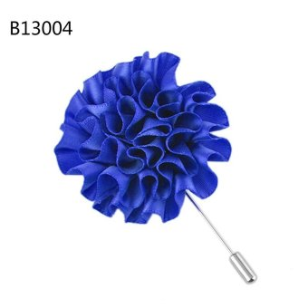Flower Floral Lapel Pin Stick Tie Brooch Boutonniere Handmade Men Blue - intl