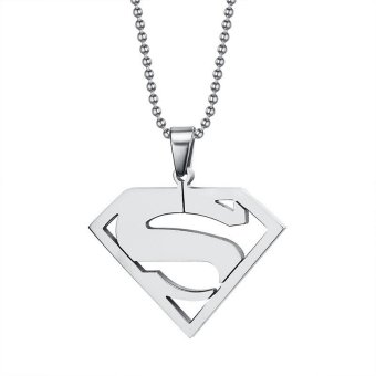 Harga Titanium Steel Superman S Mark Pendant with Necklace Chain
