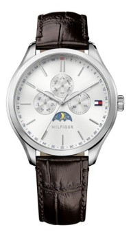 Harga Tommy Hilfiger OLIVER MOONPHASE/SS CASE/BROWN CROCO STRAP/WHITE DIAL 1791304