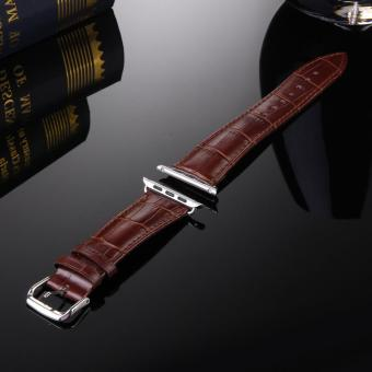 Harga GAKTAI Unisex Replacement Leather Buckle Wrist Watch Strap Band Belt for iWatch Apple Watch 38MM - Brown - intl