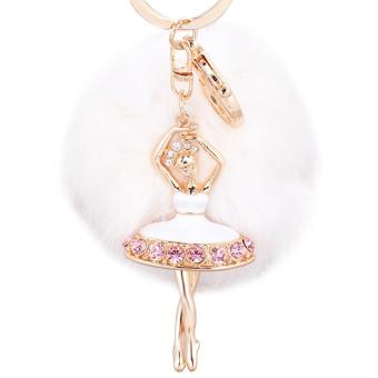 Fluffy Fur Ball Hanging Pendant Keychain Key Ring Chain with Rhinestone Ballerina Ornament for Bag Purse Wallet Decoration White - intl