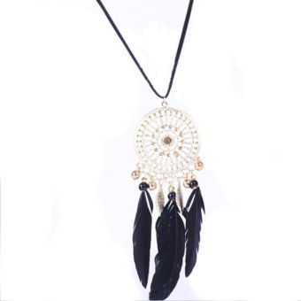 1 Pcs Dream Catcher Hollow Necklace Pendant Feather Jewelry Woman Circle Chain