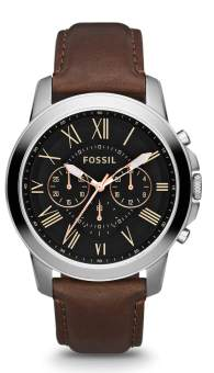 Harga Fossil Grant Chronograph Brown Leather Watch FS4813