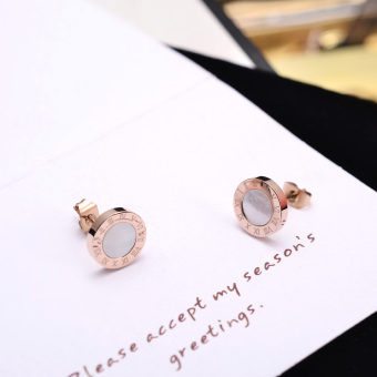 Harga Korean-style boutique titanium steel round black agate earrings men female models rose gold earrings ear Buckle