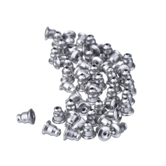 Harga 50 x Silver Plated Earring Backs Stoppers For Ear Studs - intl