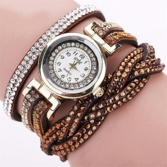 YBC Women Quartz Braided Bracelet Watch Casual Diamond Leather Wristwatch - intl
