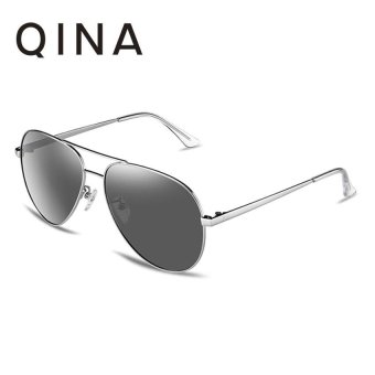 Harga QINA Polarized Women Silver Sunglasses Pilot UV 400 Protection Grey Lenses QN3523 - intl