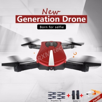 Harga LaFerrari Foldable Drone Design Wifi FPV 720P HD Camera With 2 Batteries (Red) (Free Gift Included) - intl